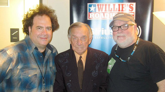Ray Price with SiriusXM Willie's Roadhouse program director Jeremy Tepper (left) and on-air personality Dallas Wayne in Austin, TX on New Year's Eve 2011.