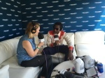 Leon Bridges with SiriusXMU's Julia Cunningham at Lollapalooza 2016