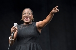 Sharon Jones and the Dap-Kings seen at Forecastle Music Festival at Waterfront Park on Saturday, July 19, 2014, in Louisville, Ky. (Photo by Amy Harris/Invision/AP)