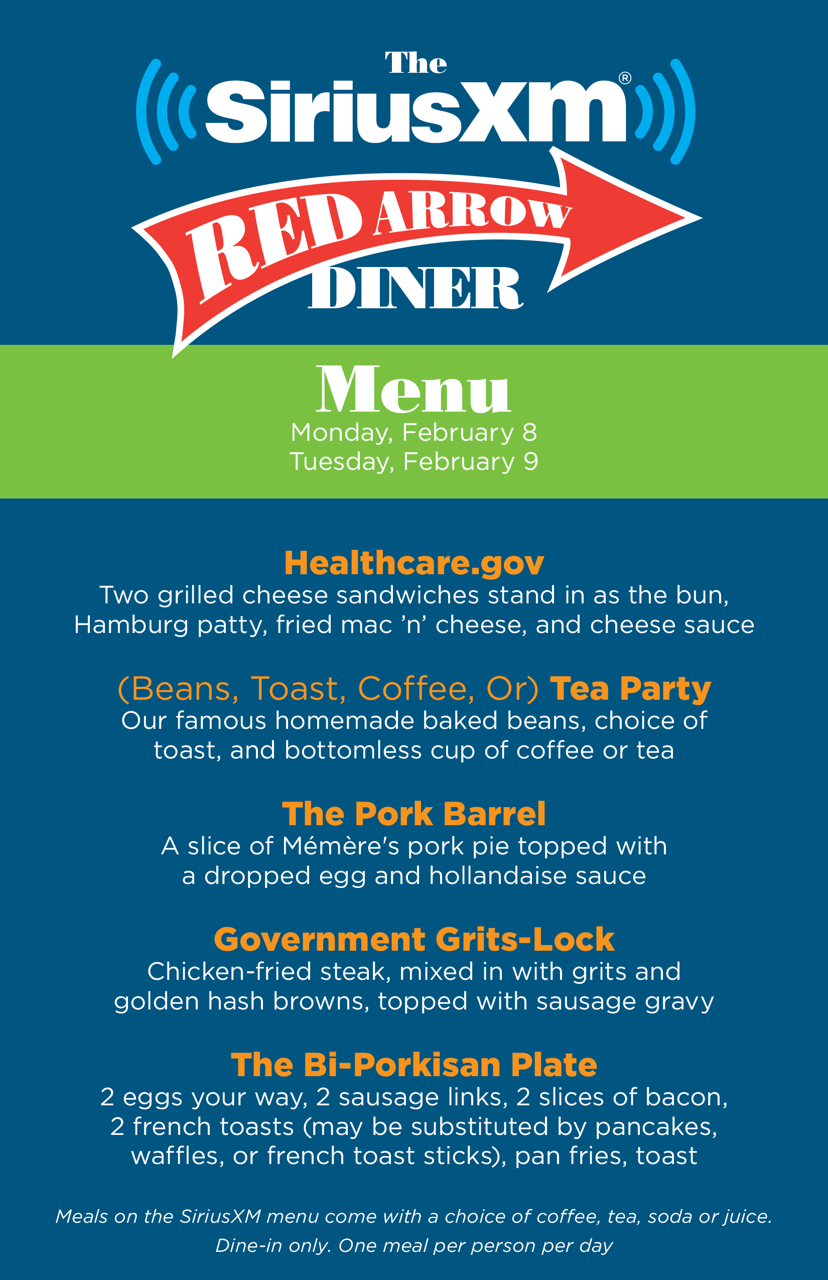 Red Arrow Diner Menu 2016