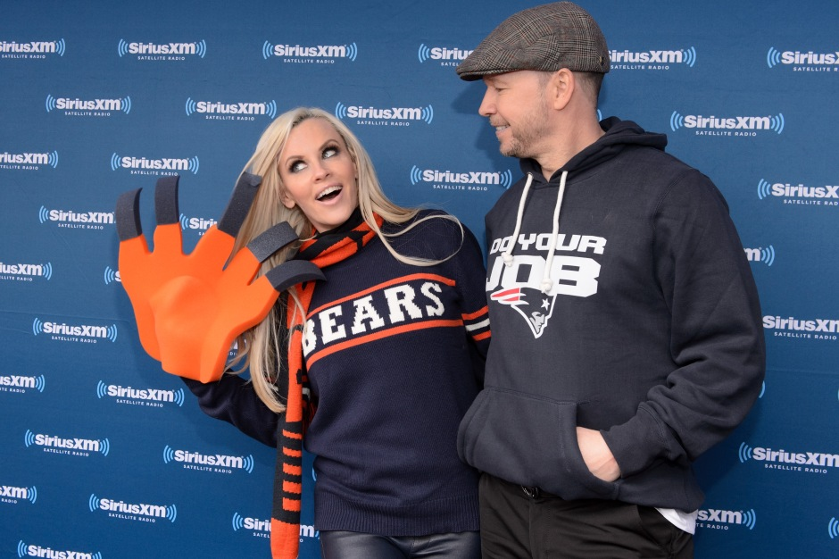 """CHICAGO, IL - APRIL 28: Jenny McCarthy and Donnie Wahlberg attend during Jenny McCarthy's SiriusXM show from Grant Park in Chicago, IL before the NFL Draft on April 28, 2016 in Chicago, Illinois. (Photo by Daniel Boczarski/Getty Images for SiriusXM)"""