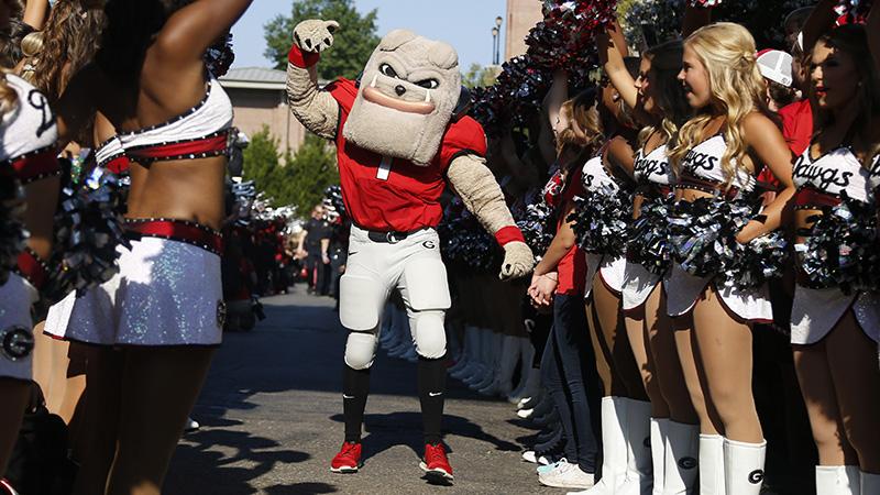 Georgia mascot Hairy Dawg before an NCAA college football game against Nicholls, Saturday, Sept. 10, 2016, in Athens, Ga. Georgia won 26-24. (AP Photo/Brett Davis)