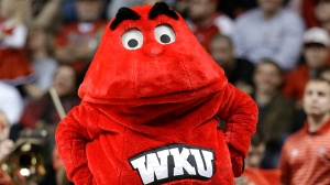 Big Red, the Western Kentucky mascot, performs in the second half of an NCAA college basketball game against Louisville on Saturday, Dec. 22, 2012, in Nashville, Tenn. Louisville won 78-55. (AP Photo/Mark Humphrey)