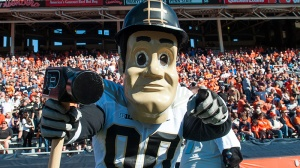 Purdue Pete, the Purdue mascot, poses on the sideline during an NCAA college football game against Illinois Saturday, Oct. 8, 2016 at Memorial Stadium in Champaign, Ill. (AP Photo/Bradley Leeb)