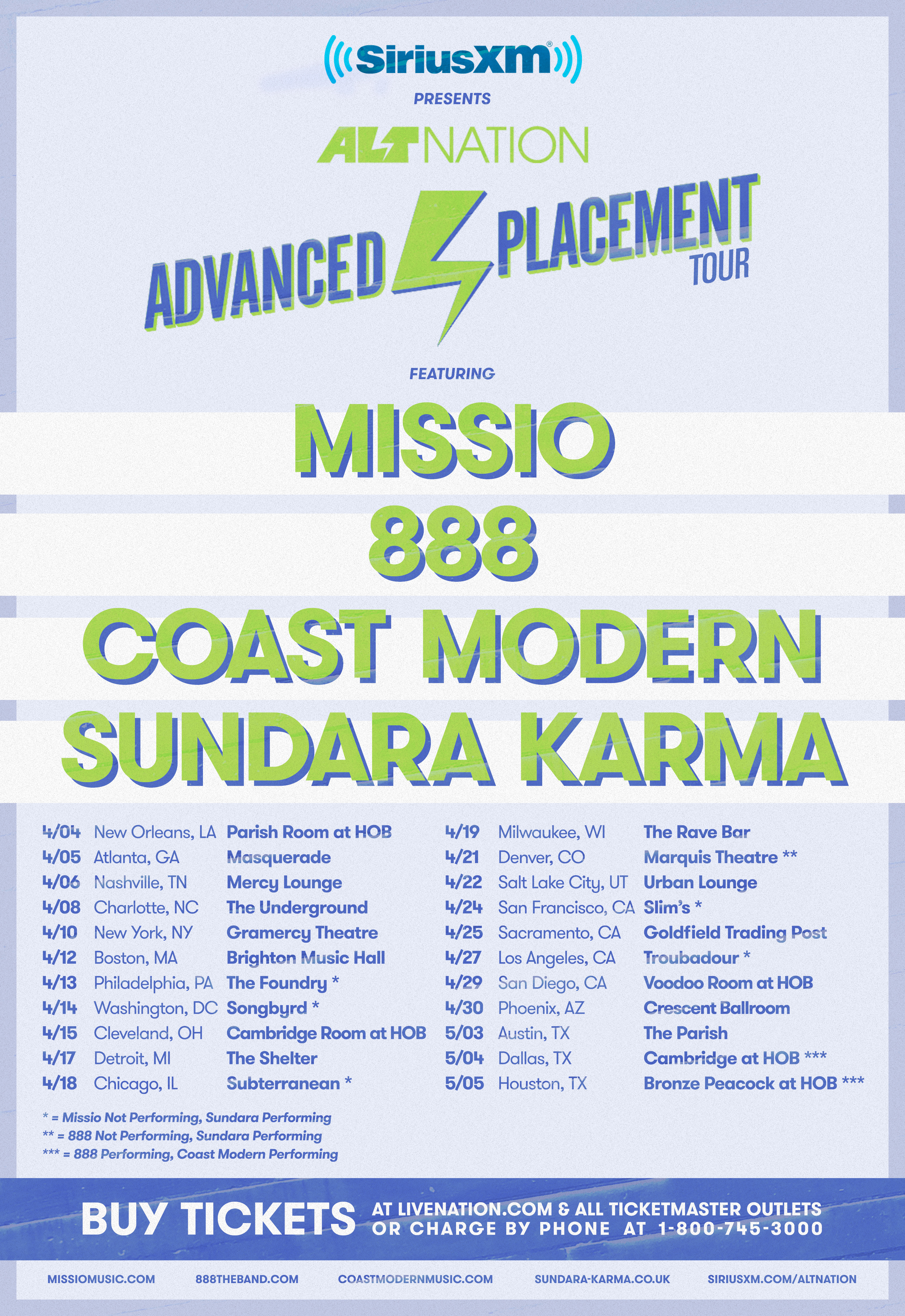 Coast To Coast Sirius Xm >> Alt Nation Presents The Advanced Placement Tour With Missio